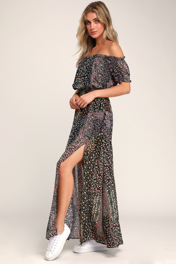 Neva Navy Blue Floral Print Off-the-Shoulder Maxi Dress - Chiffon