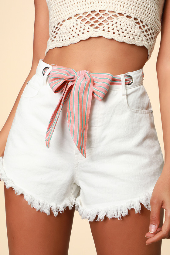 Havana White Denim Ribbon Belt Shorts- Trendy White Shorts