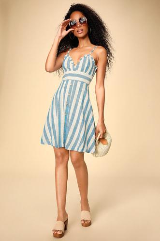 0647f4552e Linnea Blue and White Striped Ruffled Button Front Dress