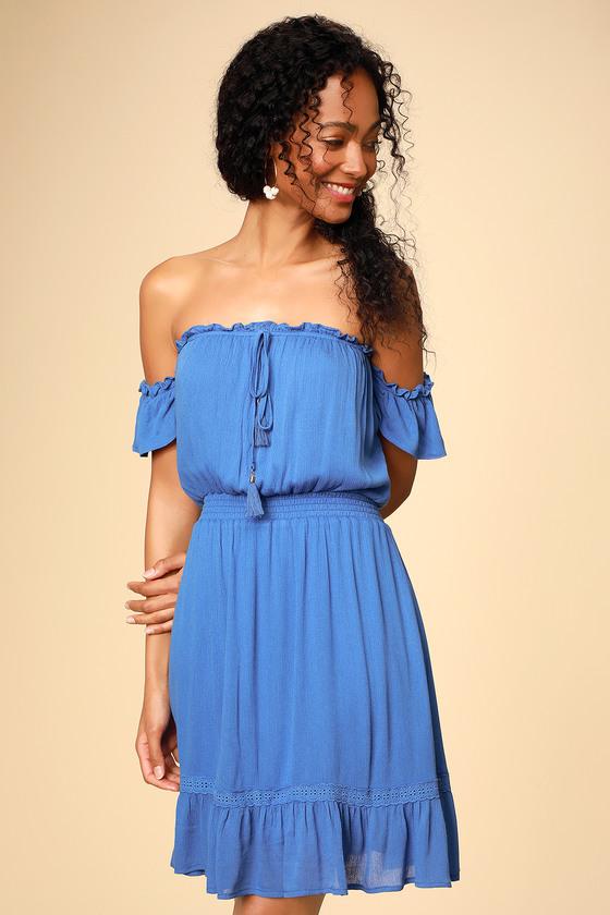 29f2f6cad80 Cute Blue Mini Dress - Off-the-Shoulder Dress - OTS Sundress