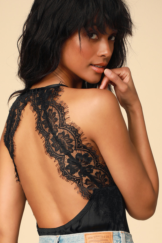 Free People MELROSE BLACK LACE BACKLESS BODYSUIT