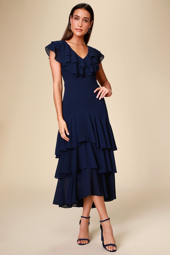 Art Deco Dresses | Art Deco Fashion, Clothing Betsey Navy Blue Ruffled Midi Dress - Lulus $74.00 AT vintagedancer.com