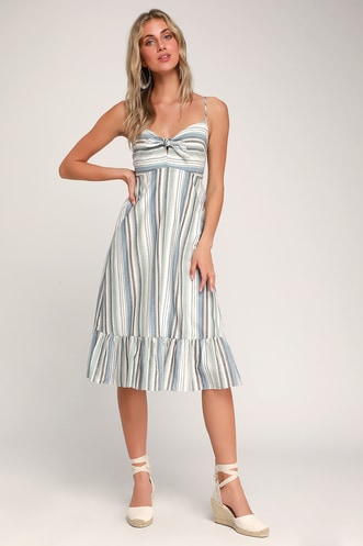 5ec481f7cd Madisun Blue Multi Striped Tie-Front Dress