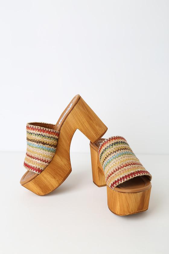 14ba6acbc38 Shoptagr | Playdate Raffia Wooden Platform Mules by Steve Madden