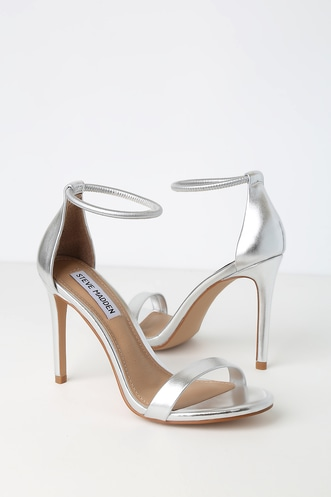 22d12795634a Soph Silver Ankle Strap Heels