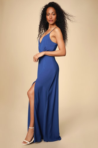 e5087c8d93f Evening of Splendor Royal Blue Surplice Maxi Dress