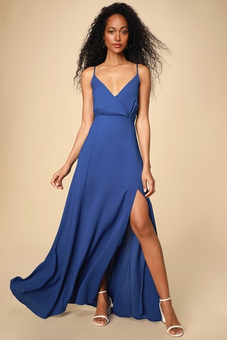 0da648b976c Evening of Splendor Royal Blue Surplice Maxi Dress