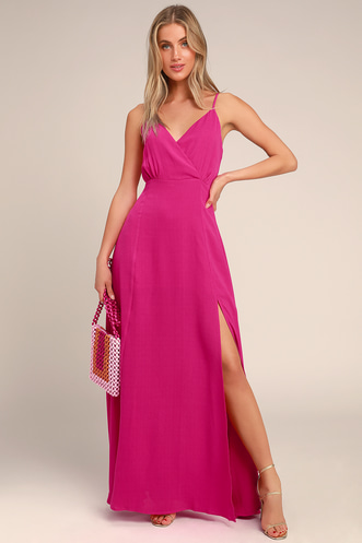 5cc8ba09568 Evening of Splendor Hot Pink Surplice Maxi Dress