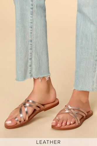 3cc3260babe5 Zooche Rose Gold Leather Slide Sandals