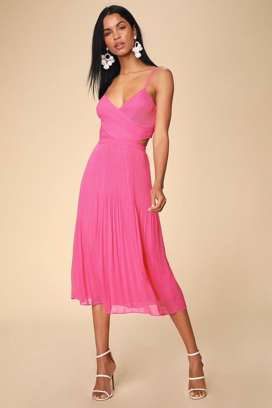 a7b199bf6bcc Ali & Jay For the Gram - Fuchsia Midi Dress - Pleated Dress