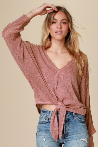 9d26cbfe9a1 Astrid Mauve Loose Knit Dolman Sleeve Tie-Front Sweater