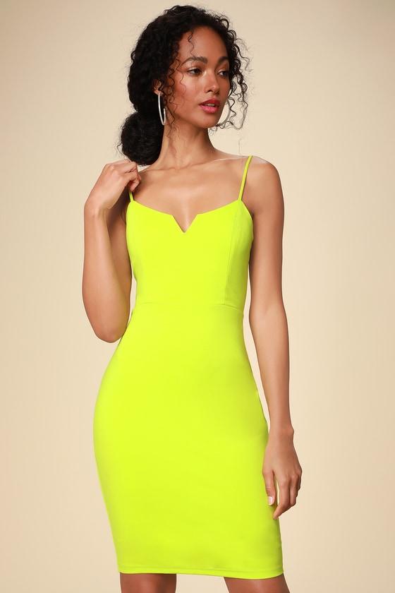 127ea03601c Sexy Lime Green Dress - Green Bodycon Dress - Neon Mini Dress