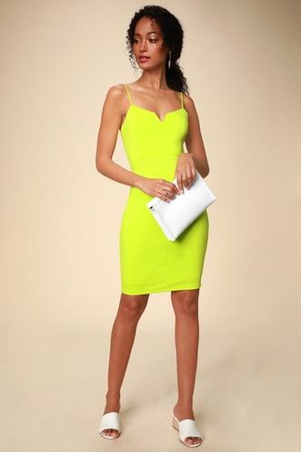 d3ef3a9663b Gianna Lime Green Sleeveless Bodycon Dress