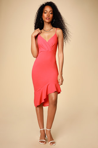 e980871b65 Vivienne Hot Pink Ruffled Bodycon Midi Dress