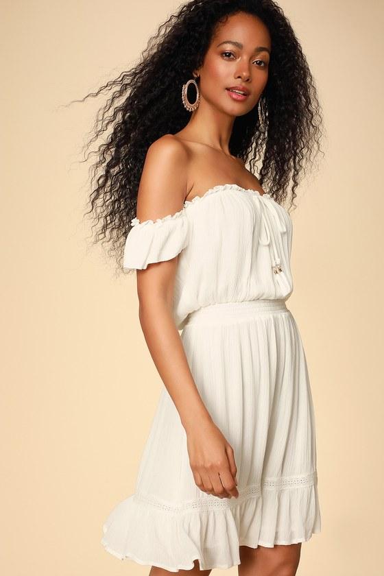 098f3ad448b3 Cute White Dress - Off-the-Shoulder Dress - White OTS Sundress