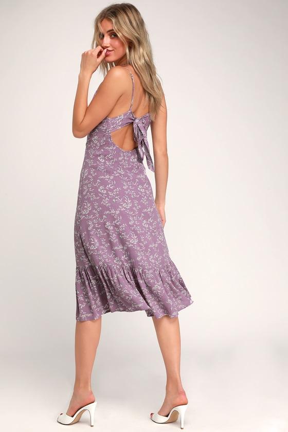 db251481458e Cute Floral Midi Dress - Lavender Midi Dress - Ruffled Midi Dress