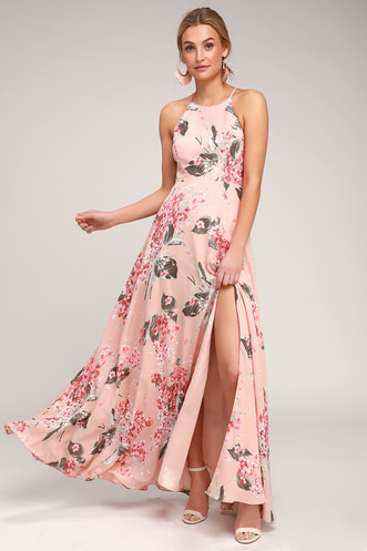 a50e9415f1 Daley Blush Floral Print Sleeveless Maxi Dress