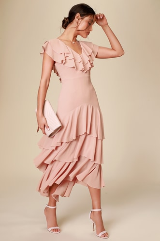 b59d3f97ff Betsey Blush Ruffled Midi Dress