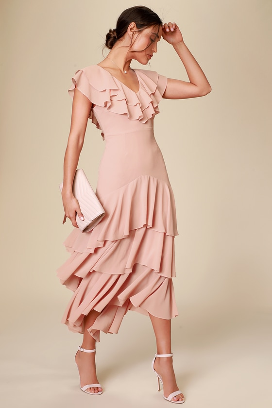 Betsey Blush Ruffled Midi Dress - Lulus