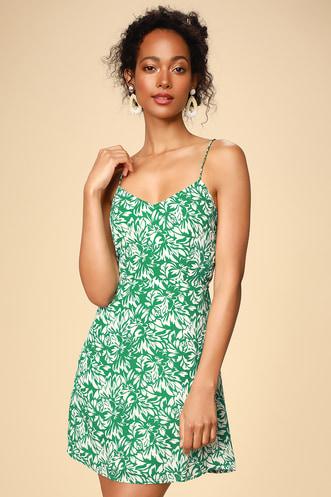 cb4527f76f On The Riviera Green Floral Print Tie-Back Mini Dress