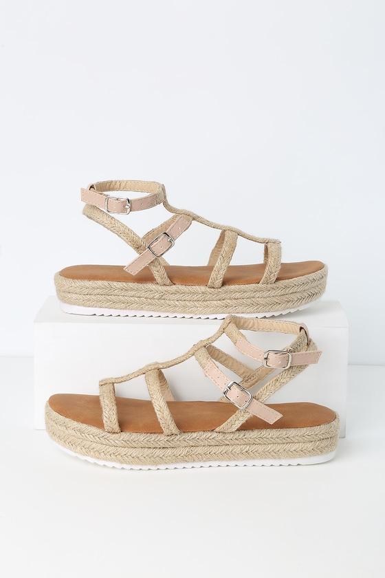 Vintage Sandal History: Retro 1920s to 1970s Sandals Creekside Beige Flatform Espadrille Sandals - Lulus $30.00 AT vintagedancer.com