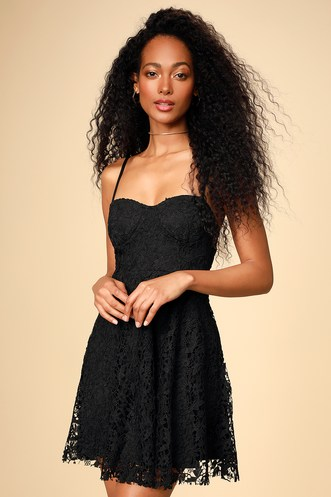 7b226538324 So Into You Black Crochet Lace Bustier Skater Dress