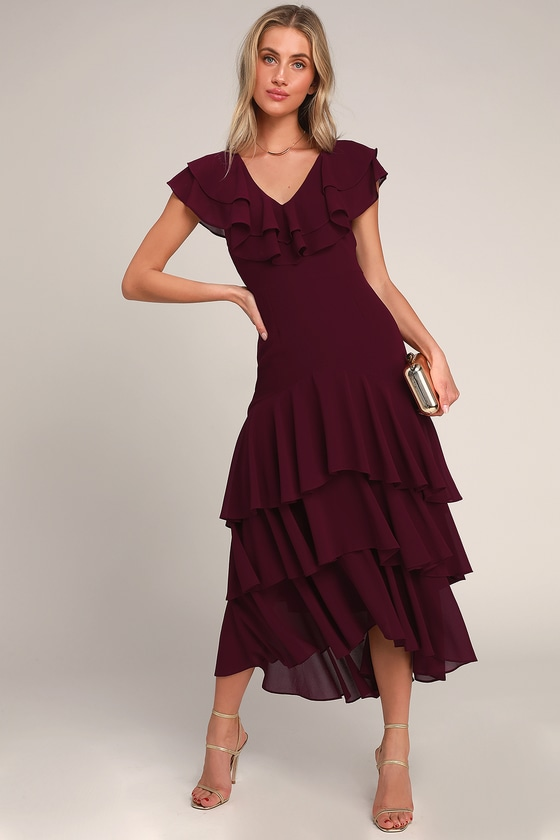 a970eb8f8e13f 1930s Day Dresses, Afternoon Dresses History Betsey Burgundy Ruffled Midi  Dress - Lulus $74.00 AT