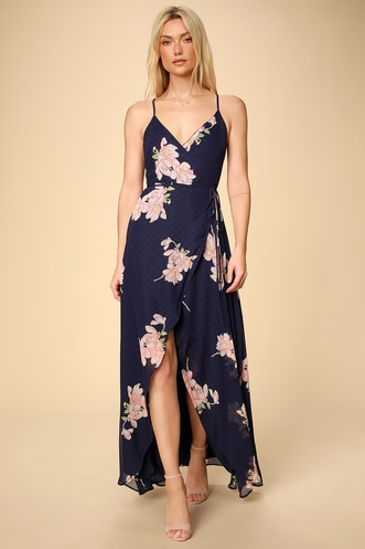 e237dddd855 Loiselle Navy Blue Floral Print Polka Dot Wrap Maxi Dress