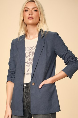 7a08b9028a3 Atticus Washed Navy Blue Cotton Blazer