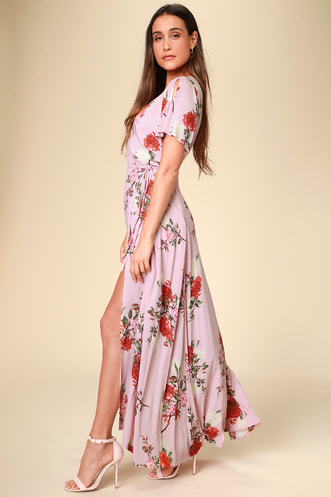 15594d7c01e Divine Days Blush Pink Floral Print Wrap Maxi Dress