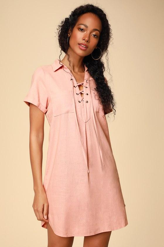 50bf7c7ac Cute Peach Shirt Dress - Short Sleeve Dress - Collared Dress