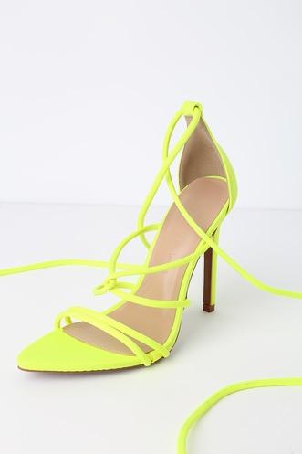 89e2e39f606 Harlo Neon Yellow Pointed Toe Lace-Up Heels