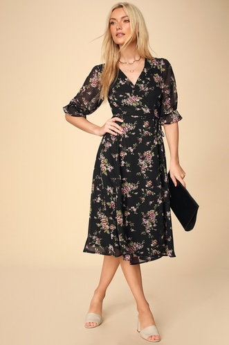 66d112317e Malva Black Floral Print Three-Quarter Sleeve Wrap Midi Dress