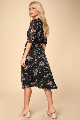 5cc8965890b Lulus Malva Black Floral Print Three-Quarter Sleeve Wrap Midi Dress
