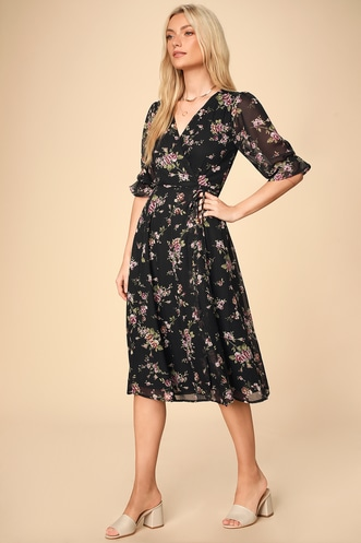 1df46fa8ff Malva Black Floral Print Three-Quarter Sleeve Wrap Midi Dress