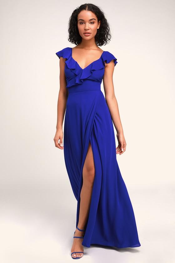 Ariah Royal Blue Ruffled Backless Maxi Dress - Lulus