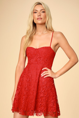f644840015 So Into You Red Crochet Lace Bustier Skater Dress
