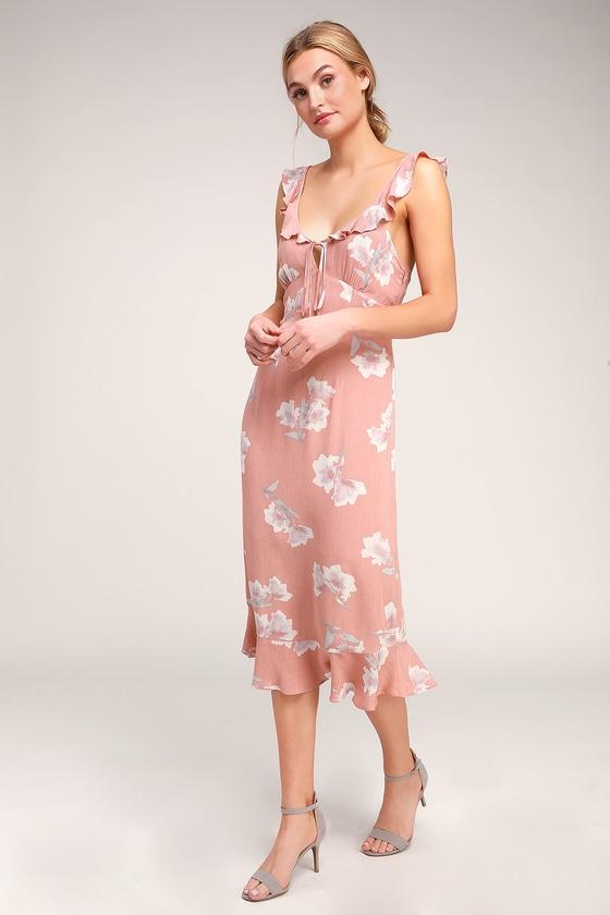 4eac8ac505c6 Cute Blush Dress - Blush Floral Print Dress - Floral Midi Dress