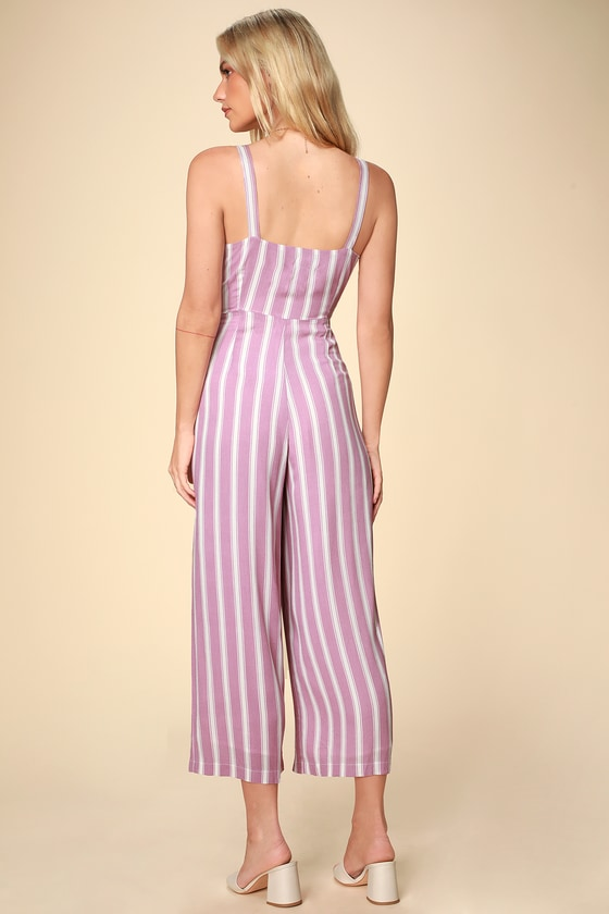 ab0ea1238f4 Chic Lavender Jumpsuit - Striped Jumpsuit - Culotte Jumpsuit