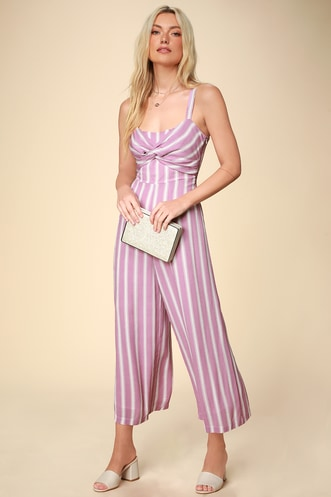 0a59b2d8d38 Elodie Lavender Striped Twist Front Wide-Leg Jumpsuit