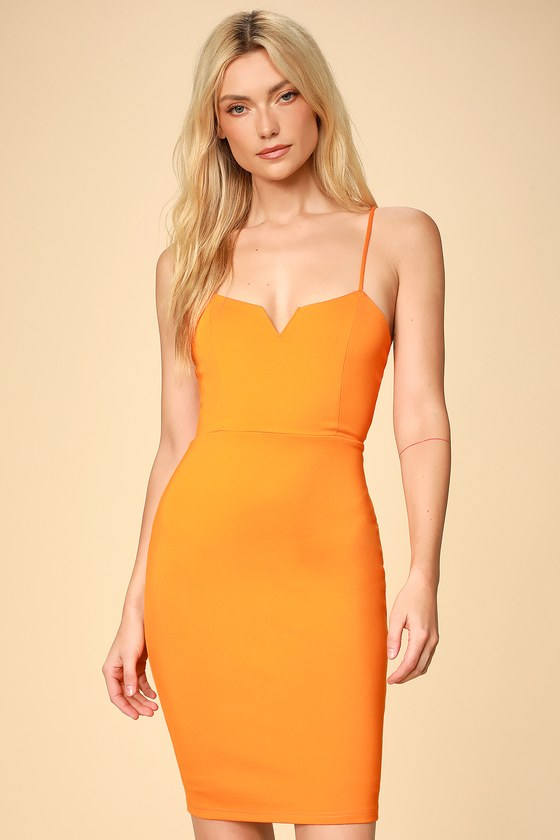 6654318c82db Sexy Orange Dress - Orange Bodycon Dress - Orange Mini Dress