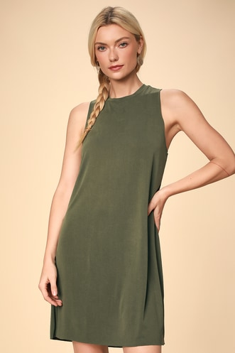 eec37f05894 Feeling Amazing Washed Olive Green Sleeveless Shift Dress