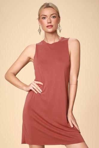 220024a8705 Feeling Amazing Washed Rust Red Sleeveless Shift Dress