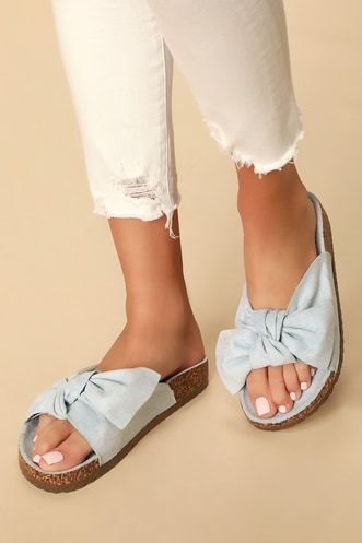 92b695b2e813 Campo Light Blue Suede Knotted Slide Sandals