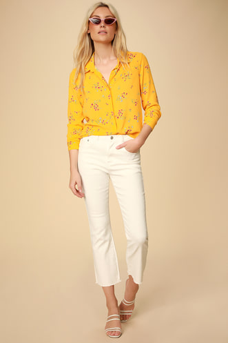 c7c4c52f21e Passion Yellow Floral Print Long Sleeve Top