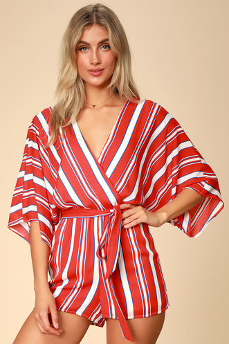 972fc0caa80 Lulus Spruce Red Multi Striped Kimono Sleeve Romper.  54 · Elodie Lavender  Striped Twist Front Wide-Leg Jumpsuit