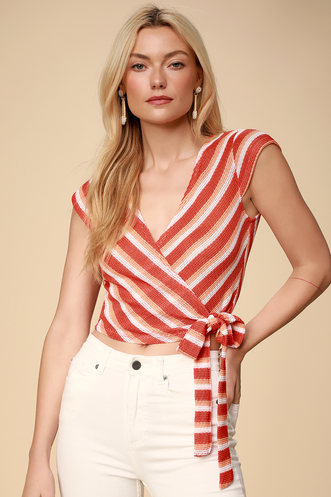 6c5e6063601 Jackielyn Orange Multi Striped Wrap Crop Top