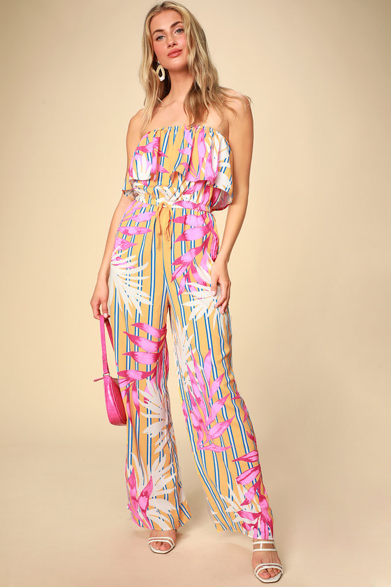 70s Jumpsuit | Disco Jumpsuits – Sequin, Striped, Gold, White, Black Montane Golden Yellow Tropical Print Strapless Jumpsuit - Lulus $17.00 AT vintagedancer.com
