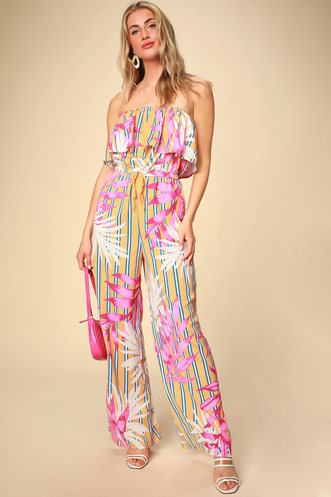 8d2b981d4a6 Montane Golden Yellow Tropical Print Strapless Jumpsuit