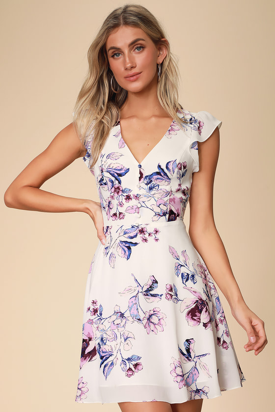 10811119a7e Cute White Floral Print Dress - Skater Dress - Cutout Dress